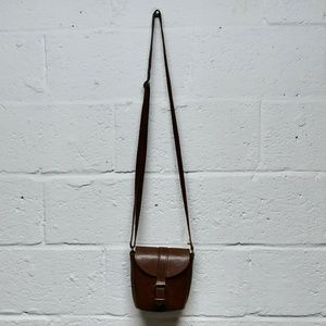 SALE Vintage Brown Leather Mini Crossbody